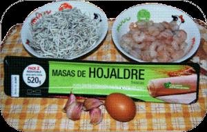 Hojaldre de gulas, gambas y ali-ol ingredientes