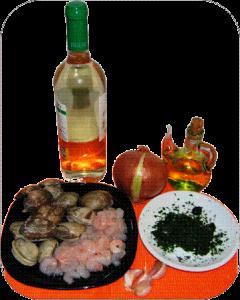Ingredientes para las pochas con almejas