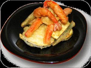 Tempura de verduras con gamba