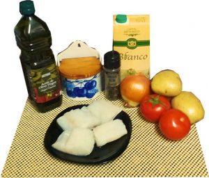 Ingredientes de bacalao gratinado con patatas