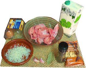 Ingredientes para conejo en pepitoria