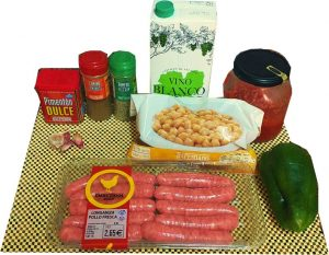 Ingredientes para garbanzos con salchichas