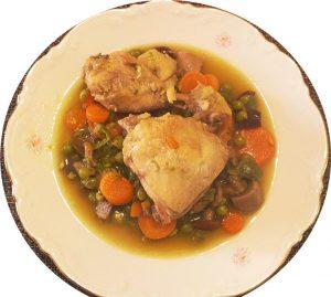 Pollo a la cerveza con verduras
