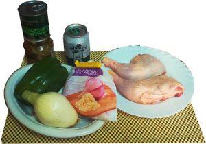 Ingredientes de pollo a la cerveza con verduras